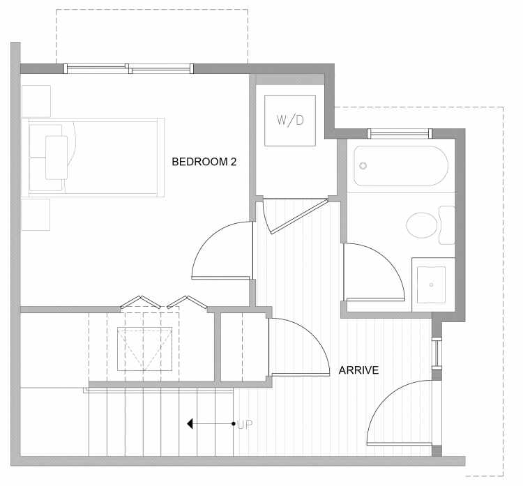 First Floor Plan of 4727A 32nd Ave S, One of the Sterling Townhomes in Columbia City