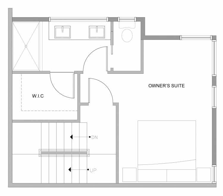 Third Floor Plan of 4727A 32nd Ave S, One of the Sterling Townhomes in Columbia City