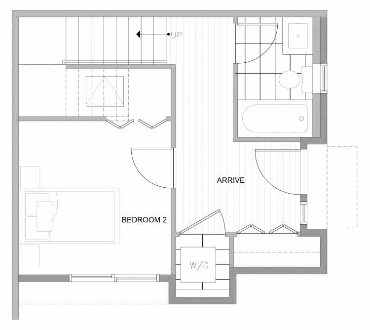 First Floor Plan of 4727B 32nd Ave S, One of the Sterling Townhomes in Columbia City
