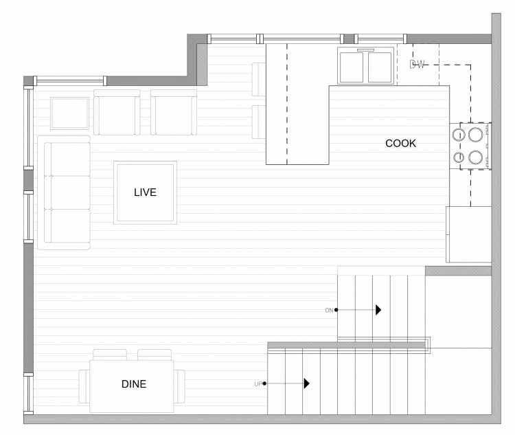 Second Floor Plan of 4727C 32nd Ave S, One of the Sterling Townhomes in Columbia City