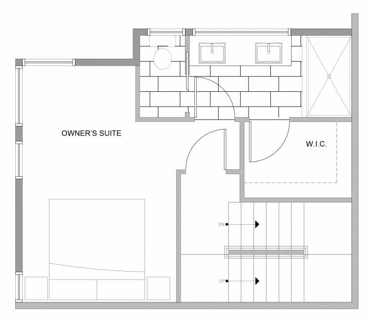 Third Floor Plan of 4727C 32nd Ave S, One of the Sterling Townhomes in Columbia City