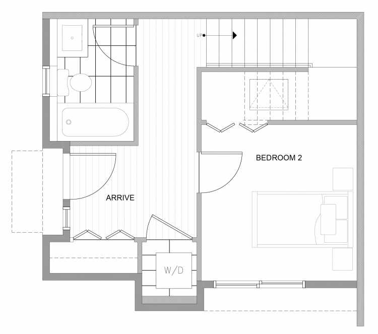 First Floor Plan of 4727D 32nd Ave S, One of the Sterling Townhomes in Columbia City