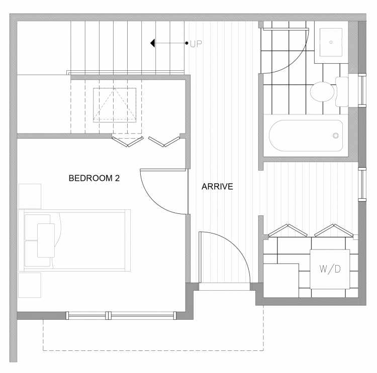 First Floor Plan of 4729B 32nd Ave S, One of the Sterling Townhomes in Columbia City