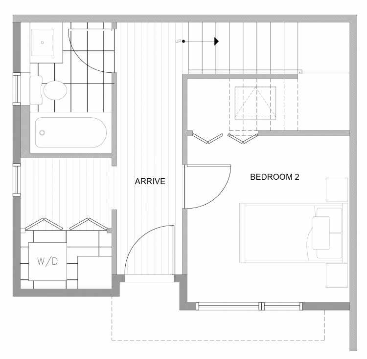 First Floor Plan of 4729D 32nd Ave S, One of the Sterling Townhomes in Columbia City