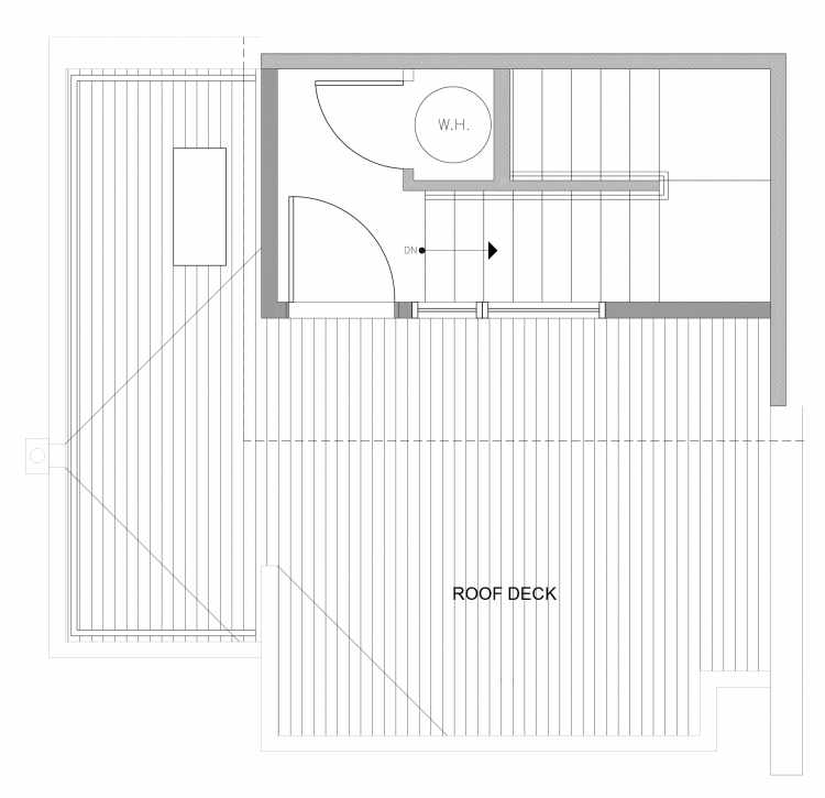 Roof Deck Floor Plan of 4729D 32nd Ave S, One of the Sterling Townhomes in Columbia City