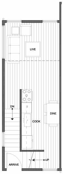 Second Floor Plan of 4801A Dayton Ave N, One of the Ari Townhomes in Fremont