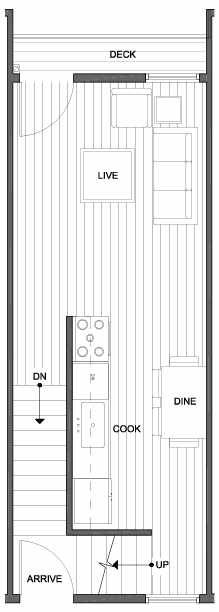 Second Floor Plan of 4801F Dayton Ave N, One of the Ari Townhomes in Fremont