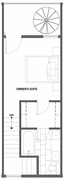 Fourth Floor Plan of 4801B Dayton Ave N, One of the Ari Townhomes in Fremont