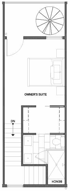 Fourth Floor Plan of 4801E Dayton Ave N, One of the Ari Townhomes in Fremont