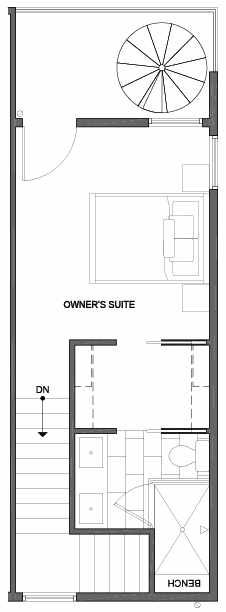 Fourth Floor Plan of 4801G Dayton Ave N, One of the Ari Townhomes in Fremont