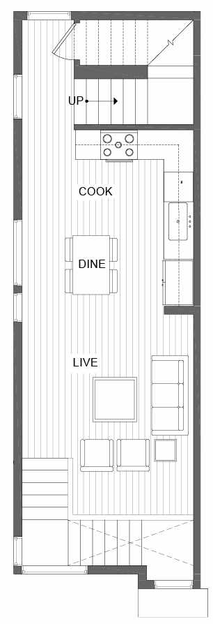 Second Floor Plan of 500A NE 71st St in the Avery Townhomes
