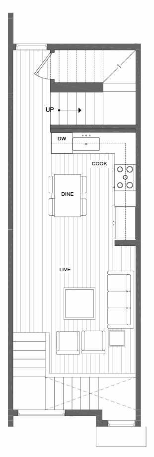 Second Floor Plan of 500B NE 71st St in the Avery Townhomes