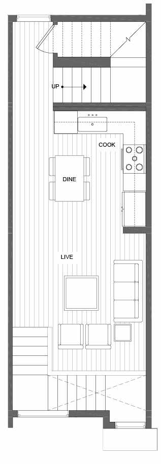 Second Floor Plan of 500C NE 71st St in the Avery Townhomes