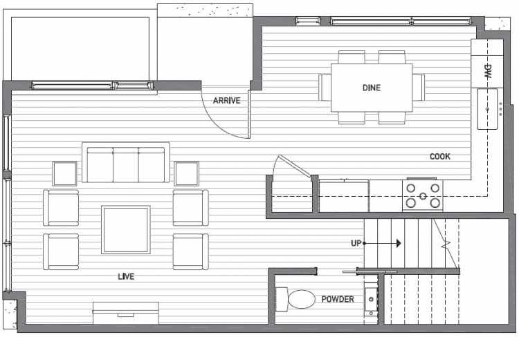 First Floor Plan of 503A NE 72nd St in Emory Townhomes, Located in Green Lake