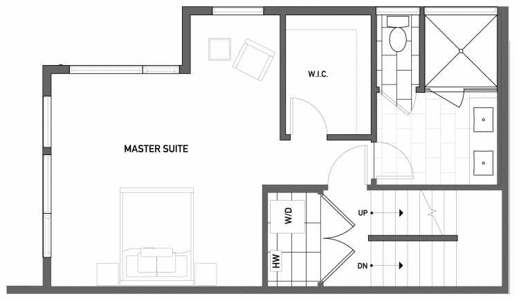 Second Floor Plan of 503A NE 72nd St in Emory Townhomes, Located in Green Lake