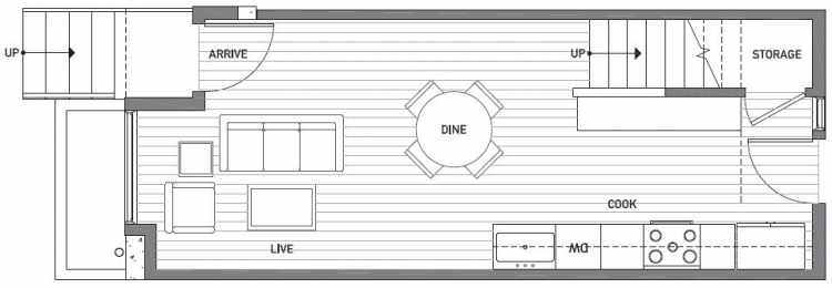 First Floor Plan of 503B NE 72nd St in Emory Townhomes, Located in Green Lake
