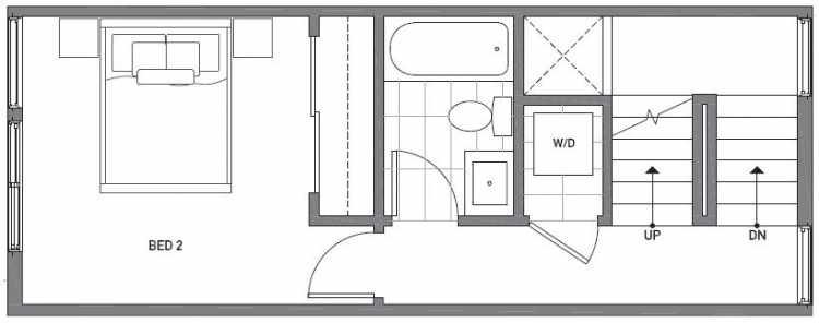 Second Floor Plan of 503B NE 72nd St in Emory Townhomes, Located in Green Lake