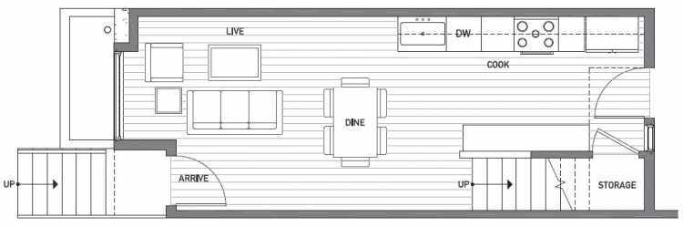 First Floor Plan of 503C NE 72nd St in Emory Townhomes, Located in Green Lake
