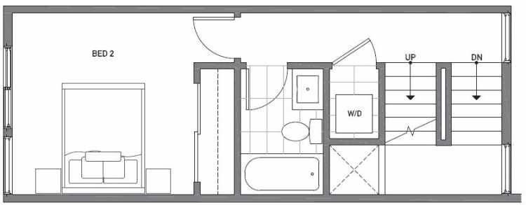 Second Floor Plan of 503C NE 72nd St in Emory Townhomes, Located in Green Lake