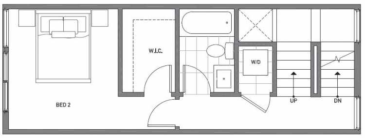 Second Floor Plan of 503E NE 72nd St in Emory Townhomes, Located in Green Lake