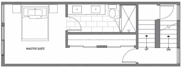 Third Floor Plan of 503F NE 72nd St in Emory Townhomes, Located in Green Lake