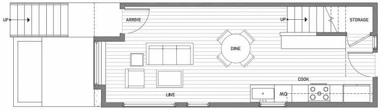 First Floor Plan of 503G NE 72nd St in Emory Townhomes, Located in Green Lake