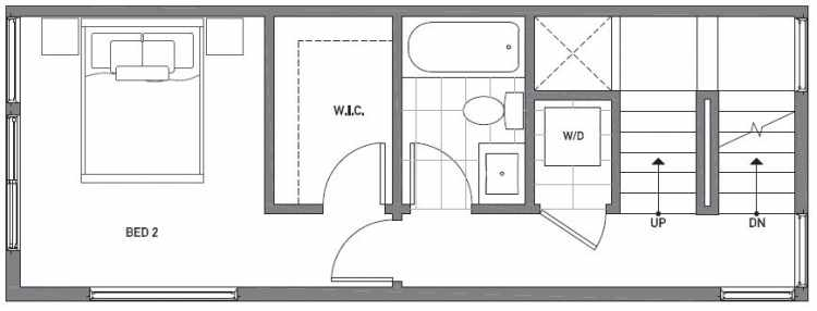 Second Floor Plan of 503G NE 72nd St in Emory Townhomes, Located in Green Lake