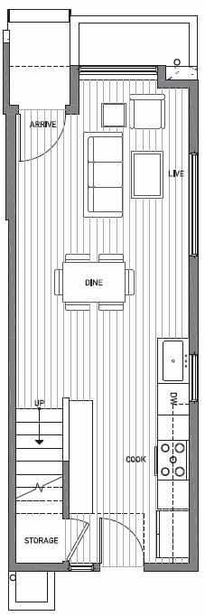 First Floor Plan of 503H NE 72nd St in Emory Townhomes, Located in Green Lake