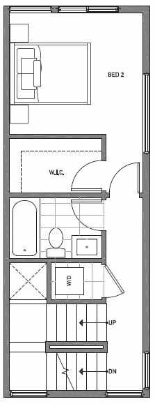 Second Floor Plan of 503H NE 72nd St in Emory Townhomes, Located in Green Lake