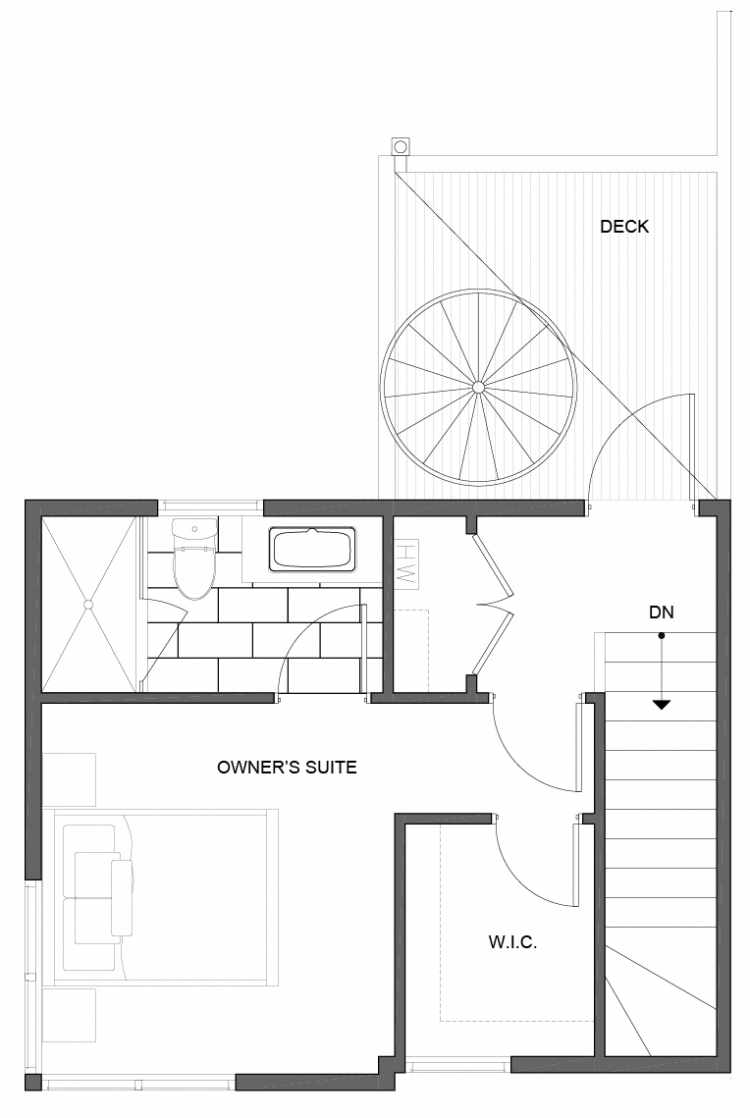 Third Floor Plan of 5111A Ravenna Ave NE of the Tremont Townhomes
