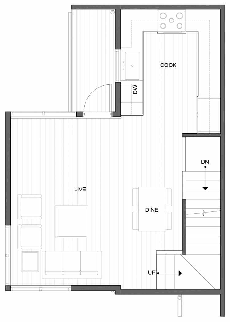 Second Floor Plan of 5111B Ravenna Ave NE of the Tremont Townhomes