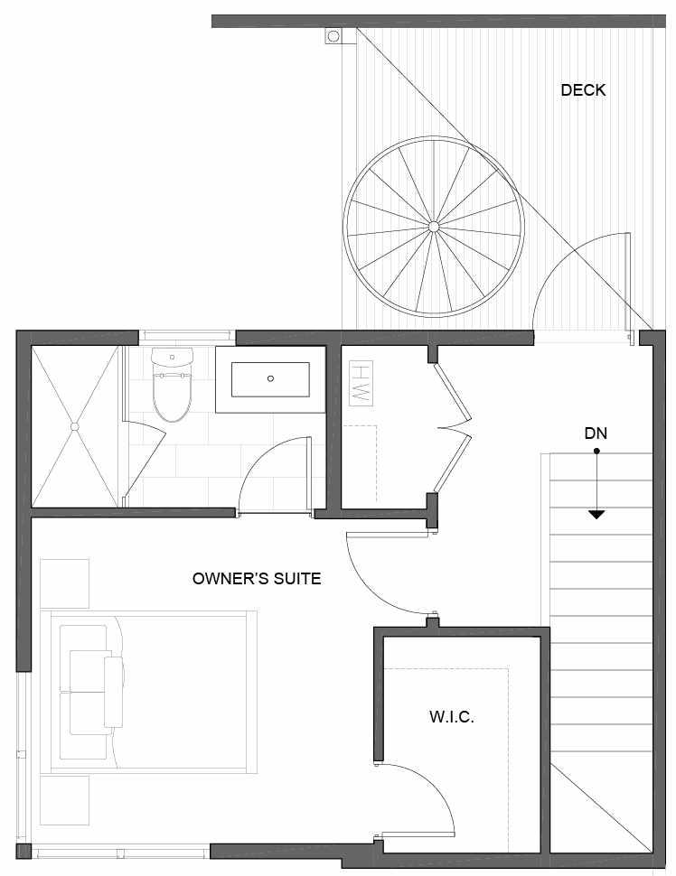 Third Floor Plan of 5111B Ravenna Ave NE of the Tremont Townhomes