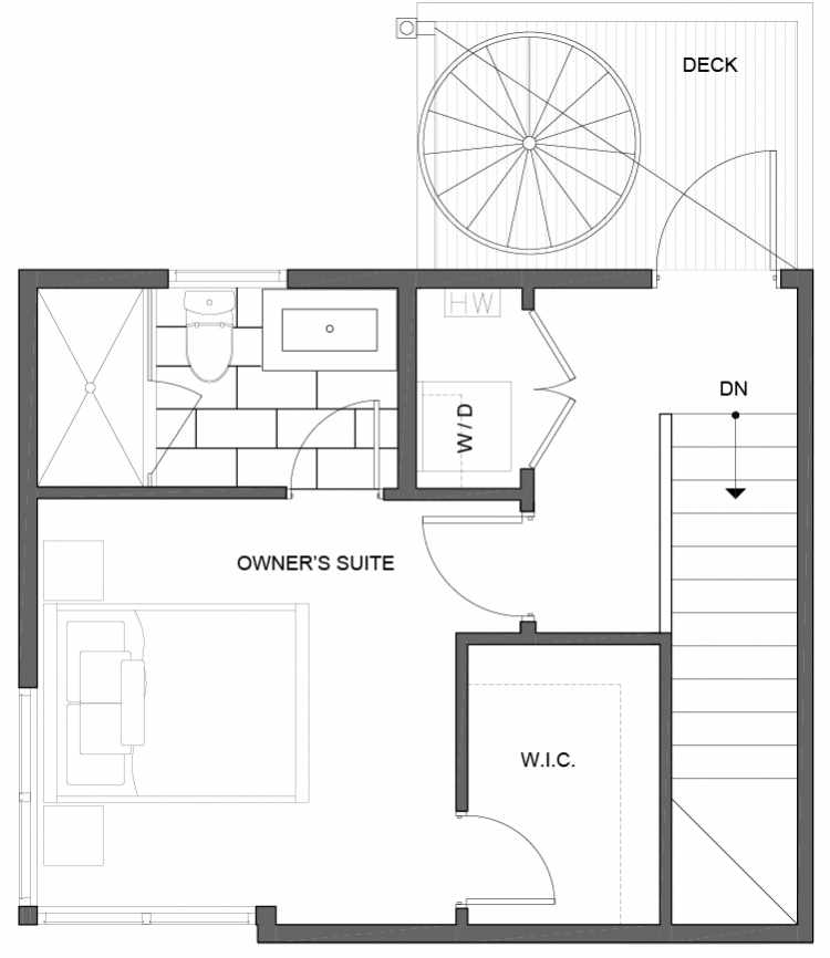 Third Floor Plan of 5111C Ravenna Ave NE of the Tremont Townhomes