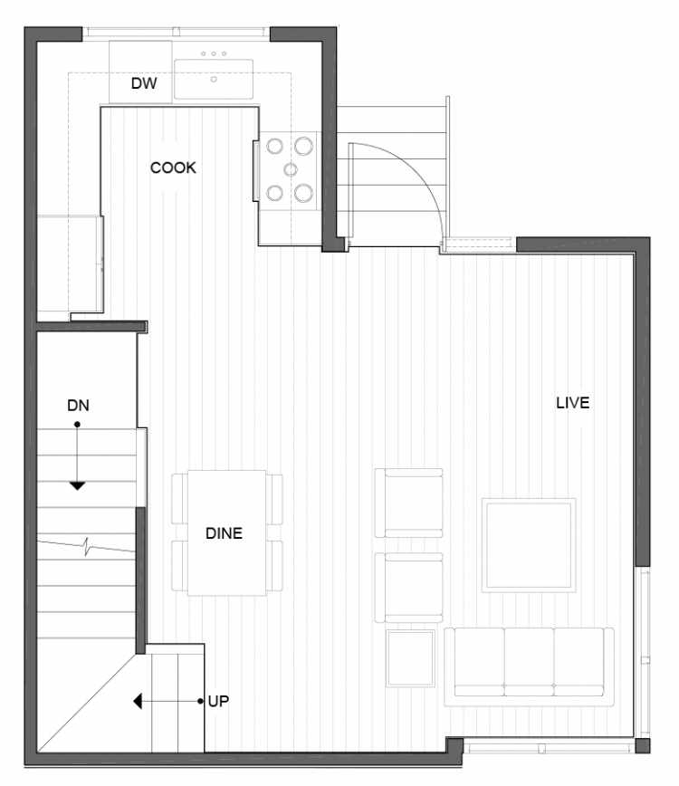 Second Floor Plan of 5111D Ravenna Ave NE of the Tremont Townhomes