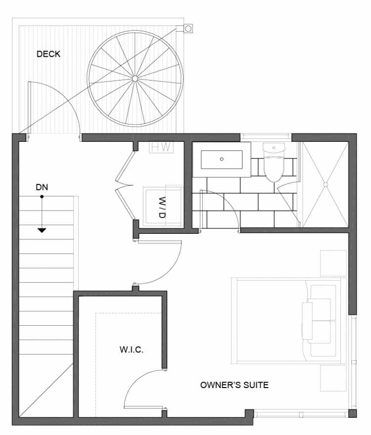 Third Floor Plan of 5111D Ravenna Ave NE of the Tremont Townhomes