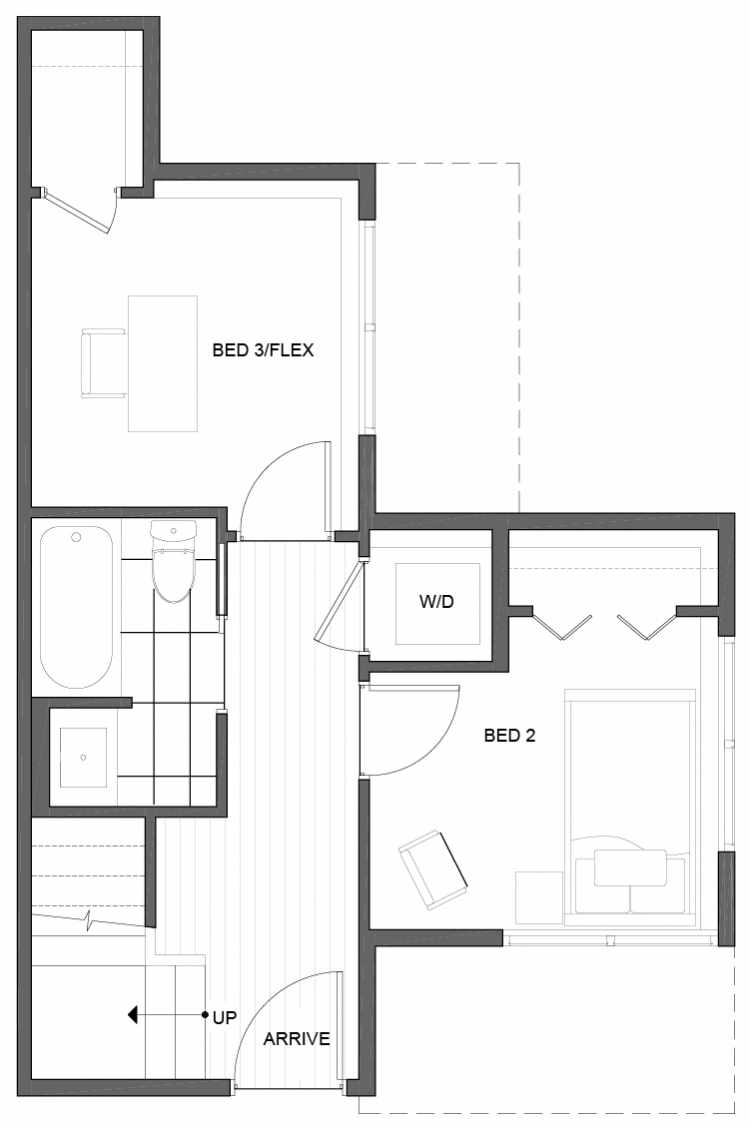 First Floor Plan of 5111F Ravenna Ave NE of the Tremont Townhomes