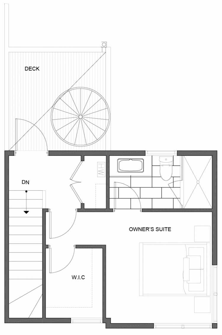 Third Floor Plan of 5111F Ravenna Ave NE of the Tremont Townhomes