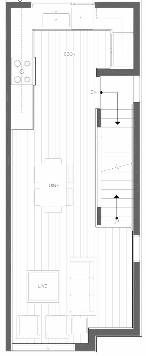 Second Floor Plan of 6309A 9th Ave NE in Zenith Towns East by Isola Homes