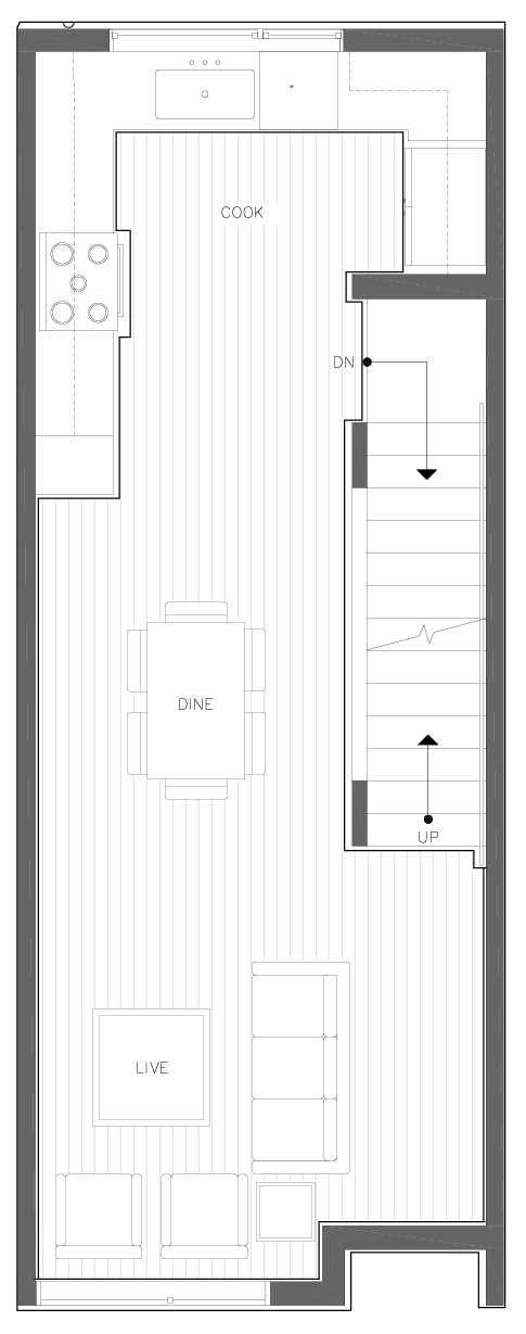 Second Floor Plan of 6309E 9th Ave NE in Zenith Towns East by Isola Homes