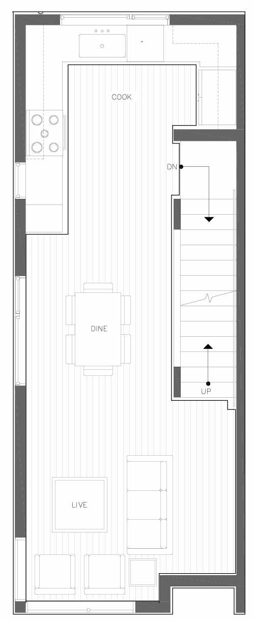 Second Floor Plan of 6309F 9th Ave NE in Zenith Towns East by Isola Homes