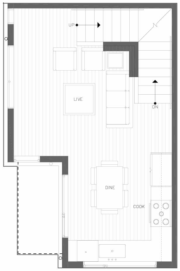 Second Floor Plan of 6311A 9th Ave NE in Zenith Towns West by Isola Homes
