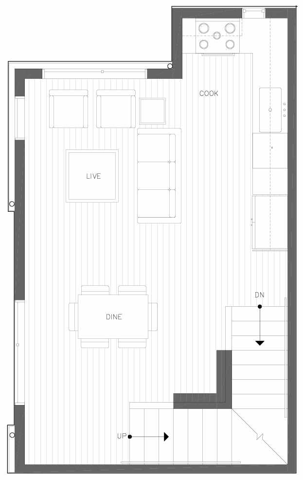 Second Floor Plan of 6311B 9th Ave NE in Zenith Towns West by Isola Homes