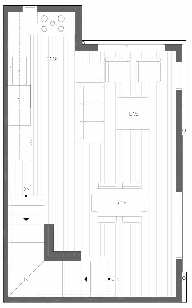 Second Floor Plan of 6311D 9th Ave NE in Zenith Towns West by Isola Homes