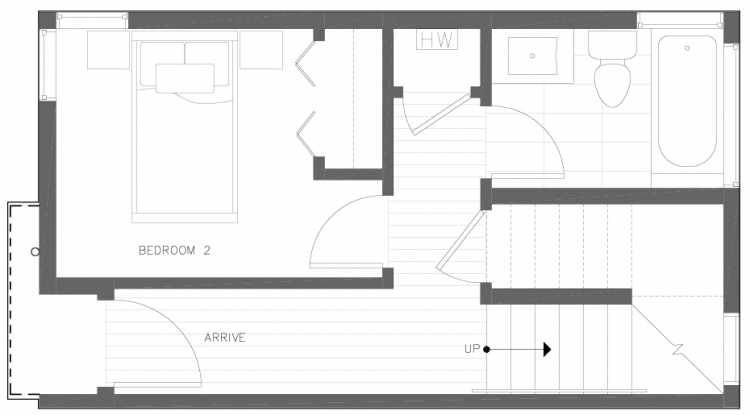 First Floor Plan of 6317A 9th Ave NE, One of Zenith Towns North by Isola Homes