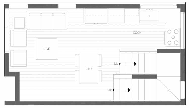 Second Floor Plan of 6317A 9th Ave NE, One of Zenith Towns North by Isola Homes