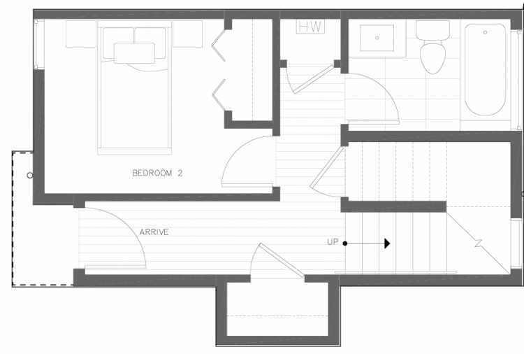 First Floor Plan of 6317D 9th Ave NE, One of Zenith Towns North by Isola Homes