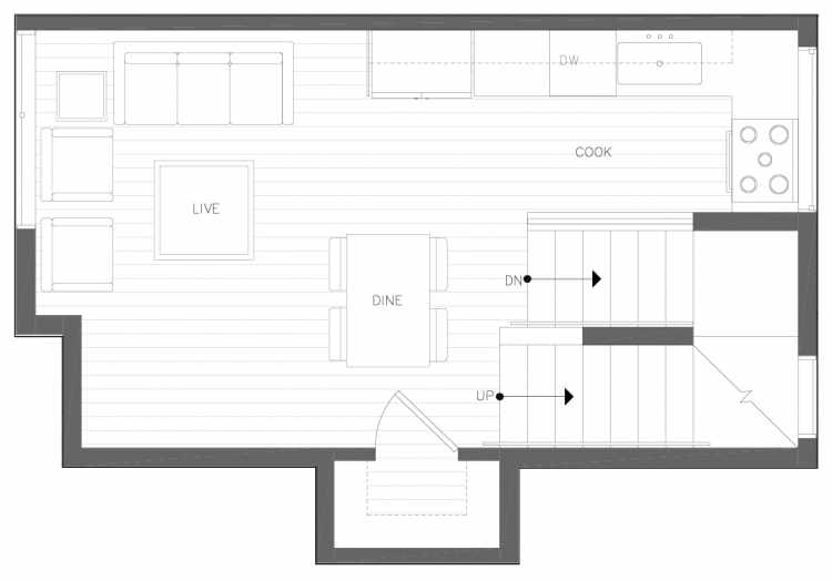 Second Floor Plan of 6317B 9th Ave NE, One of Zenith Towns North by Isola Homes