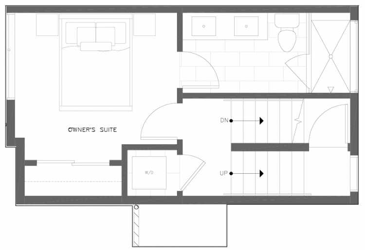 Third Floor Plan of 6317B 9th Ave NE, One of Zenith Towns North by Isola Homes