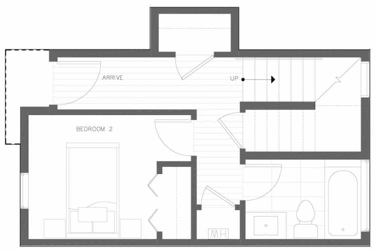First Floor Plan of 6317C 9th Ave NE, One of Zenith Towns North by Isola Homes
