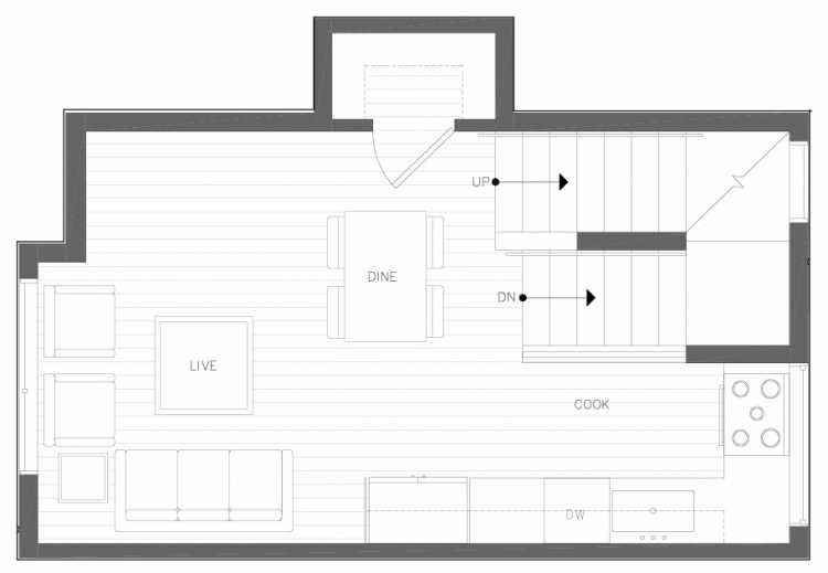 Second Floor Plan of 6317E 9th Ave NE, One of Zenith Towns North by Isola Homes